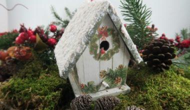 Decoración de navidad casita de madera con Decoupage y Nieve